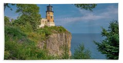 View Of Split Rock Lighthouse Beach Towel