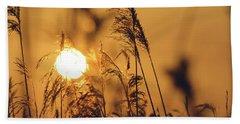 View Of Sun Setting Behind Long Grass C Beach Towel