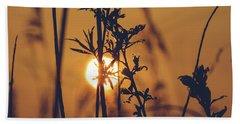 View Of Sun Setting Behind Long Grass D Beach Towel