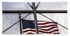 View Of The American Flag Through The Glass Dome Of The Overture Center Beach Sheet