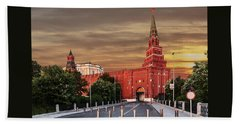 View Of The Borovitskaya Tower Of The Moscow Kremlin Beach Towel