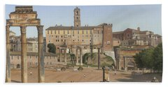View Of The Forum In Rome Beach Sheet by Christoffer Wilhelm Eckersberg