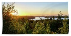 View Of The Lake Hiidenvesi At Sunset Beach Towel