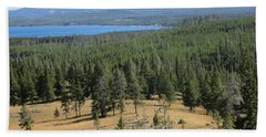Beach Towel featuring the photograph View Of Yellowstone Lake From Top Of Trail by Marie Neder