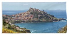View On Castelsardo Beach Towel by Patricia Hofmeester