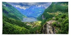 View On Geiranger From Flydalsjuvet Beach Towel by Dmytro Korol
