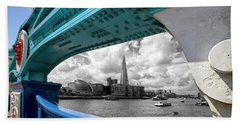 View Through Tower Bridge Beach Towel by Shirley Mitchell