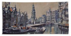 View To The Mint Tower Amsterdam Beach Towel by Nop Briex