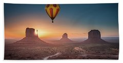 Viewing Sunrise At Monument Valley Beach Towel