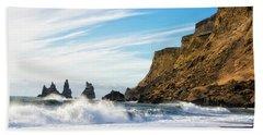 Vik Reynisdrangar Beach And Ocean Iceland Beach Towel by Matthias Hauser