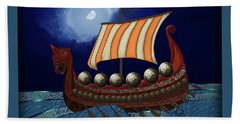 Beach Towel featuring the digital art Viking Ship by Megan Dirsa-DuBois