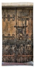Village Chateau French Old Ancient Door Color  Beach Sheet