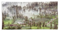 Village Covered With Mist Beach Towel