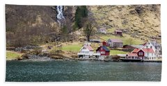 Beach Towel featuring the photograph Village On A Fjord by Suzanne Luft