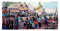 Village Rocket Festival-vintage Painting Beach Sheet by Ian Gledhill