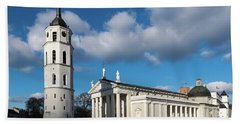 Vilnius Bell Tower And Cathedral Beach Towel