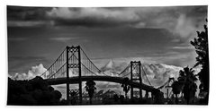 Beach Towel featuring the photograph Vincent Thomas Bridge by Joseph Hollingsworth