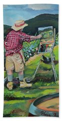 Beach Towel featuring the painting Vineyard Plein Air Painting - We Paint With Wine by Jan Dappen