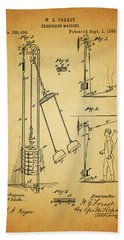Vintage 1885 Exercising Device Patent Beach Towel by Dan Sproul