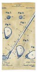 Vintage 1910 Golf Club Patent Artwork Beach Sheet