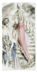Vintage 1920s Fashion Plate  Evening Dresses Beach Towel