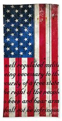 Vintage American Flag And 2nd Amendment On Old Wood Planks Beach Towel