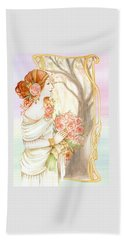Vintage Art Nouveau Flower Lady Beach Towel