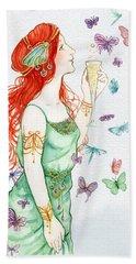 Vintage Art Nouveau Lady Party Time Beach Towel