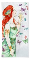 Vintage Art Nouveau Lady Party Time Beach Towel