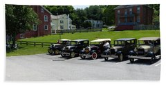 Beach Towel featuring the photograph Vintage Auto Display by Donald C Morgan
