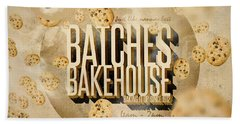 Vintage Bakery Ad - Batches Bakehouse Beach Towel