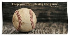 Vintage Baseball Babe Ruth Quote Beach Towel by Terry DeLuco