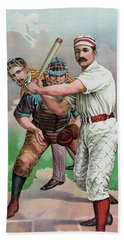 Vintage Baseball Card Beach Towel by American School