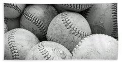 Vintage Baseballs Beach Towel by Brooke T Ryan