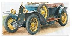 Vintage Blue Bugatti Classic Car Beach Towel