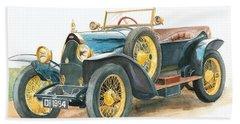 Vintage Blue Bugatti Classic Car Beach Sheet