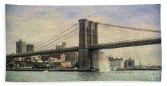 Vintage Brooklyn Bridge Beach Towel