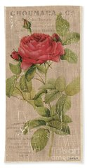 Vintage Burlap Floral Beach Towel