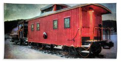 Beach Towel featuring the photograph Vintage Caboose - Winter Train by Joann Vitali