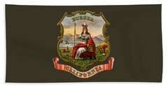 Vintage California Coat Of Arms Beach Sheet