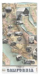 Vintage California Map Beach Towel