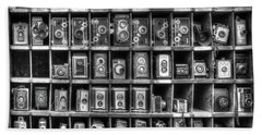 Vintage Camera Matrix Beach Sheet