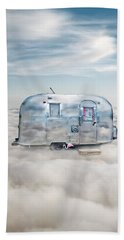 Vintage Camping Trailer In The Clouds Beach Towel by Jill Battaglia