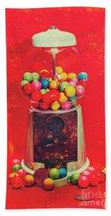 Vintage Candy Store Gum Ball Machine Beach Towel