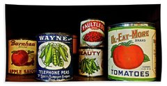 Vintage Canned Vegetables Beach Sheet by Joan Reese