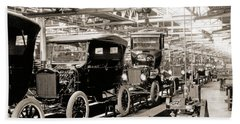 Vintage Car Assembly Line Beach Towel