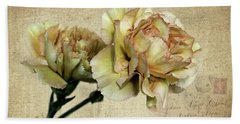 Vintage Carnations Beach Towel by Judy Vincent