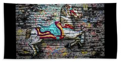 Beach Towel featuring the photograph Vintage Carousel Horse by Michael Arend