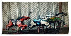 Vintage Carousel Horses 006 Beach Towel by Tony Grider