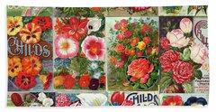 Vintage Childs Nursery Flower Seed Packets Mosaic  Beach Sheet